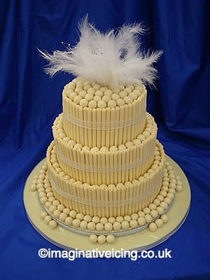 Stacked White Chocolate Malteasers Wedding Cake