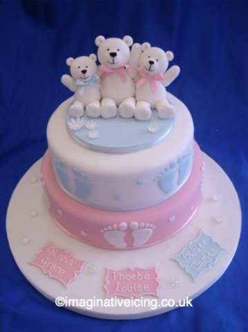 Family Teddy Bear Christening Cake