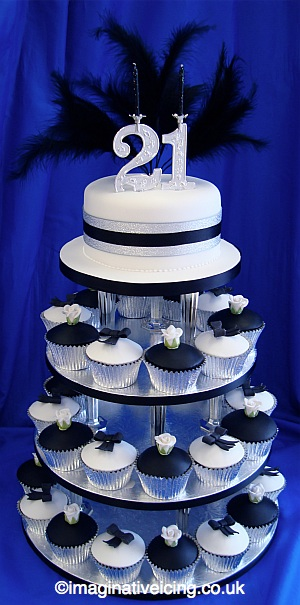 21st Birthday Black and White Cake Buns (cupcakes, fairy cakes, muffins)