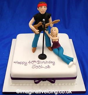 Live Rock Music Fan 40th Birthday Cake