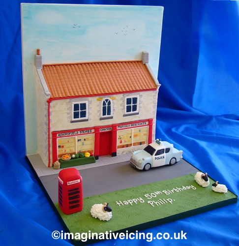 3D Yorkshire Village Store / heartbeat village store - Birthday Cake