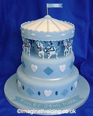 Carousel Christening Cake - blue