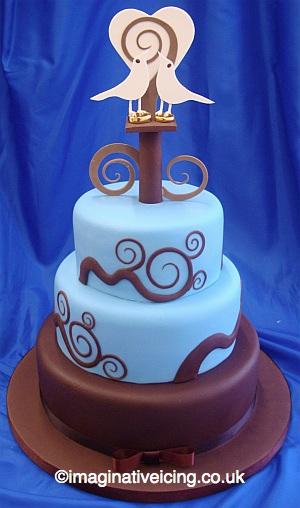 Twitter-Ring Love Birds Wedding Tweets Wedding Cake