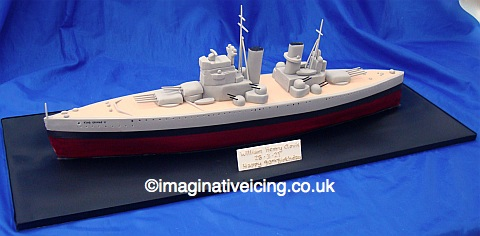 King George V Battleship WWII Birthday Cake with plaque
