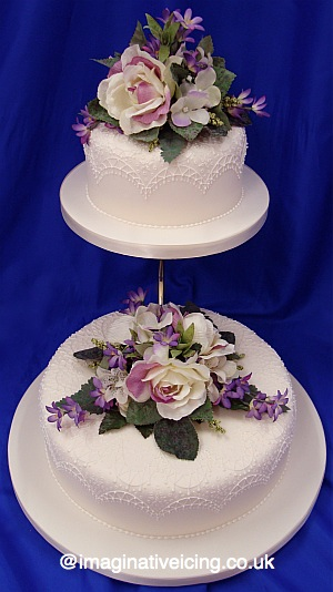 Cake stand imaginative icing cakes scarborough york malton lace piping silk flowers ivory wedding cake junglespirit Gallery