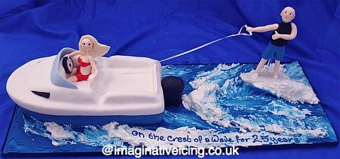 speedboat wake-boarder anniversary cake