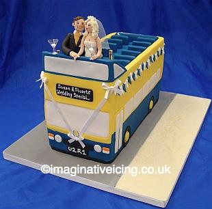 Open Top Double Decker Bus Wedding Cake