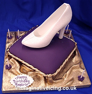 """Cinderella's Glittered and sparkling Pastillage Icing Shoe or """"Glass Slipper"""""""
