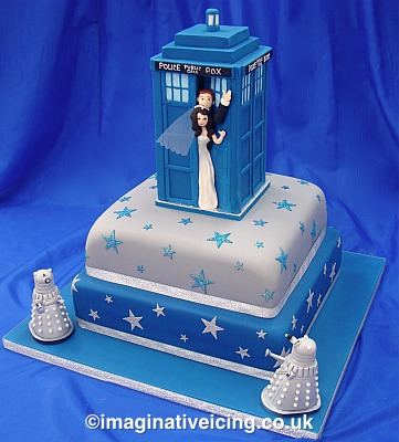 Dr Who Fans' Tardis Wedding Cake