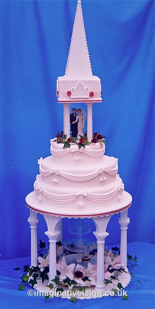 Church Spire Wedding Cake with Fountain and flowers