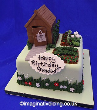 Garden shed allotment birthday cake imaginative icing for Gardening 80th birthday cake