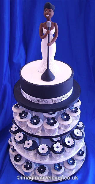 Jazz Blues Singer Birthday Cake with Black & White Cupcakes