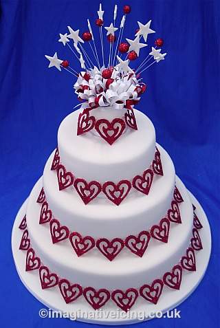 Wedding Cake with Red Sparkle Hearts