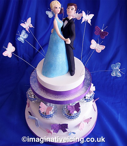 Anniversary cake with large Icing Ballroom Dancing Couple, Mirror Balls and Glitter Butterflies
