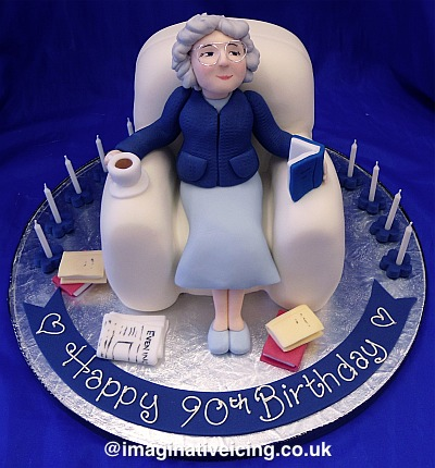 Granny Sat in Armchair Birthday Cake