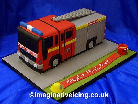 Fire Engine Shaped Birthday Cake Imaginative Icing Cakes