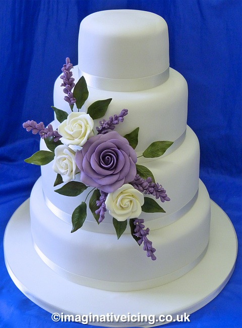 Cream Lilac Rose Lavender Wedding Cake