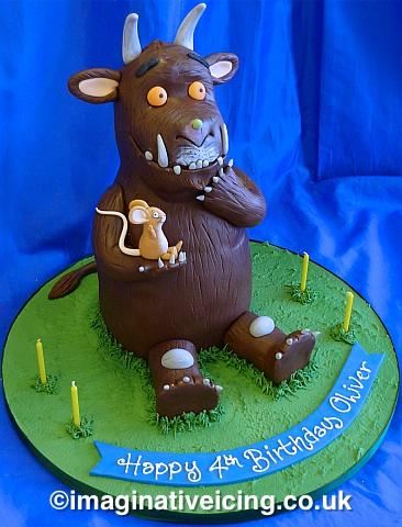 3D Gruffalo birthday cake, chocolate cake & chocolate sugarpaste
