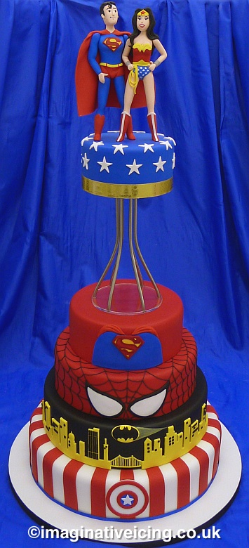 Superman Wonder Woman Wedding Cake