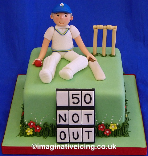 Yorkshire Cricket Player Birthday Cake - 50 Not Out