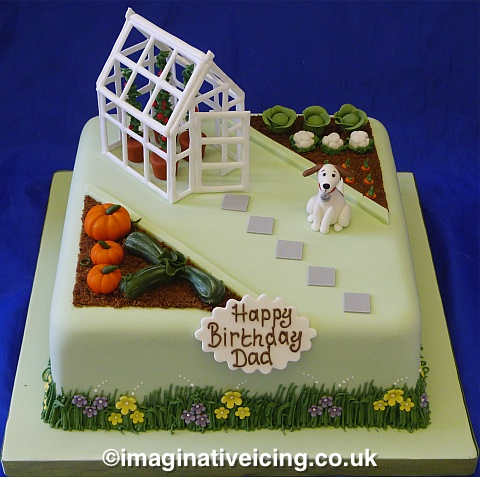 Gardening Birthday Cake With Greenhouse Pumpkins Vegetable Garden And Dog