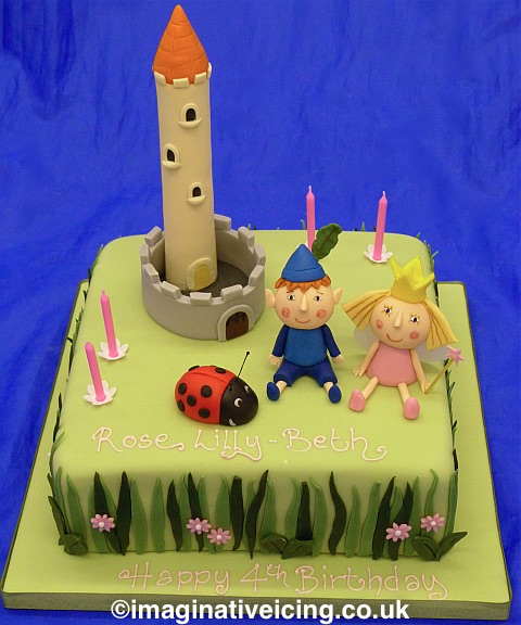 4th birthday cake - Castle tower, Ladybird, Ben and Holly