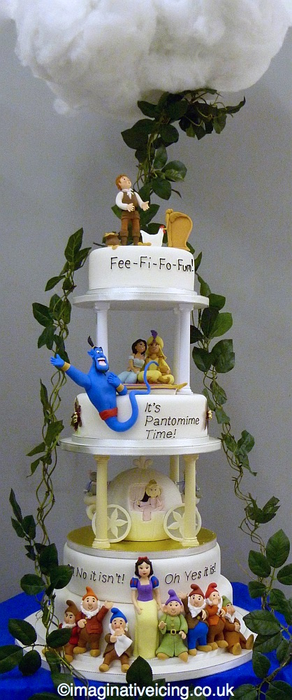 jack and the bean stalk - Aladin - Cinderella - Snow White and the Seven Dwarves - pantomime cake